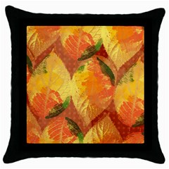 Fall Colors Leaves Pattern Throw Pillow Case (black) by DanaeStudio