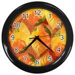 Fall Colors Leaves Pattern Wall Clocks (Black) Front