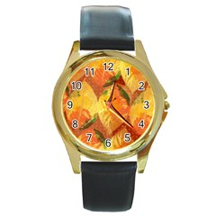 Fall Colors Leaves Pattern Round Gold Metal Watch by DanaeStudio