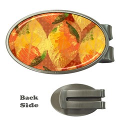 Fall Colors Leaves Pattern Money Clips (Oval)