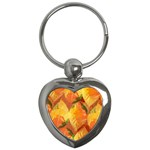 Fall Colors Leaves Pattern Key Chains (Heart)  Front