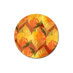 Fall Colors Leaves Pattern Magnet 3  (round) by DanaeStudio