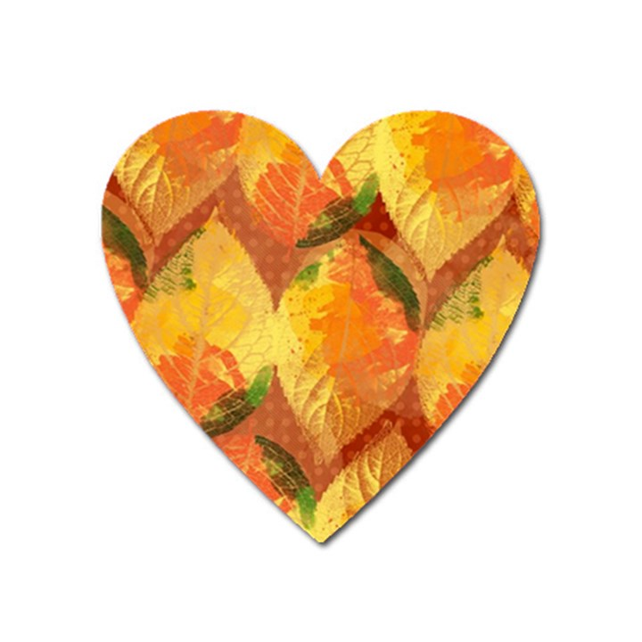 Fall Colors Leaves Pattern Heart Magnet