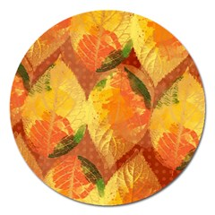 Fall Colors Leaves Pattern Magnet 5  (round)
