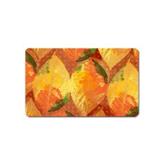 Fall Colors Leaves Pattern Magnet (name Card) by DanaeStudio