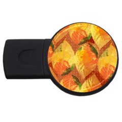 Fall Colors Leaves Pattern Usb Flash Drive Round (2 Gb)