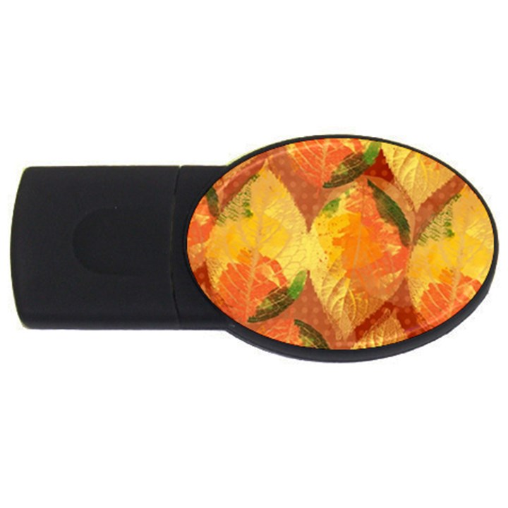 Fall Colors Leaves Pattern USB Flash Drive Oval (2 GB)