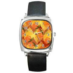 Fall Colors Leaves Pattern Square Metal Watch by DanaeStudio