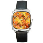 Fall Colors Leaves Pattern Square Metal Watch Front