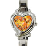 Fall Colors Leaves Pattern Heart Italian Charm Watch Front