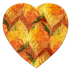Fall Colors Leaves Pattern Jigsaw Puzzle (heart)