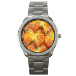 Fall Colors Leaves Pattern Sport Metal Watch Front