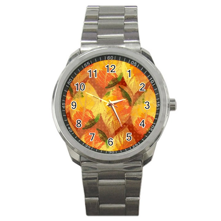 Fall Colors Leaves Pattern Sport Metal Watch