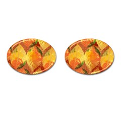Fall Colors Leaves Pattern Cufflinks (Oval)