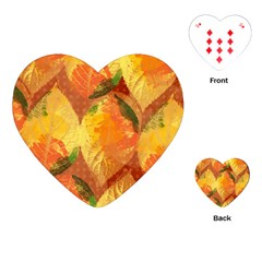 Fall Colors Leaves Pattern Playing Cards (heart)  by DanaeStudio