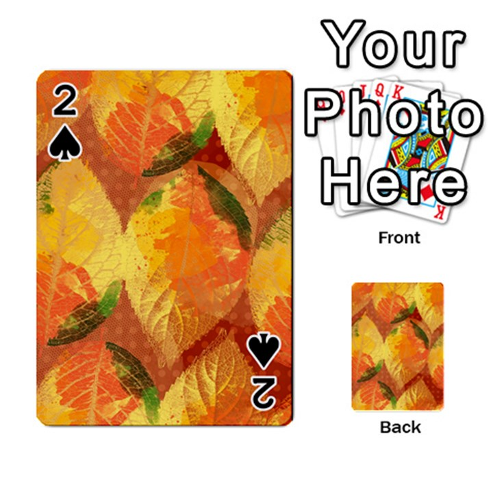 Fall Colors Leaves Pattern Playing Cards 54 Designs