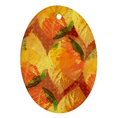 Fall Colors Leaves Pattern Oval Ornament (two Sides) by DanaeStudio