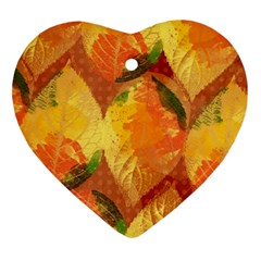 Fall Colors Leaves Pattern Heart Ornament (2 Sides) by DanaeStudio