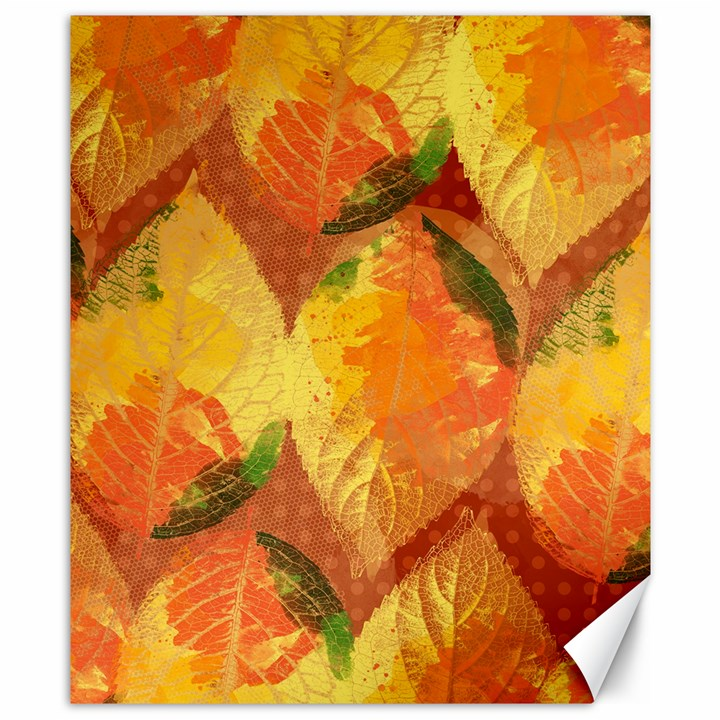 Fall Colors Leaves Pattern Canvas 8  x 10