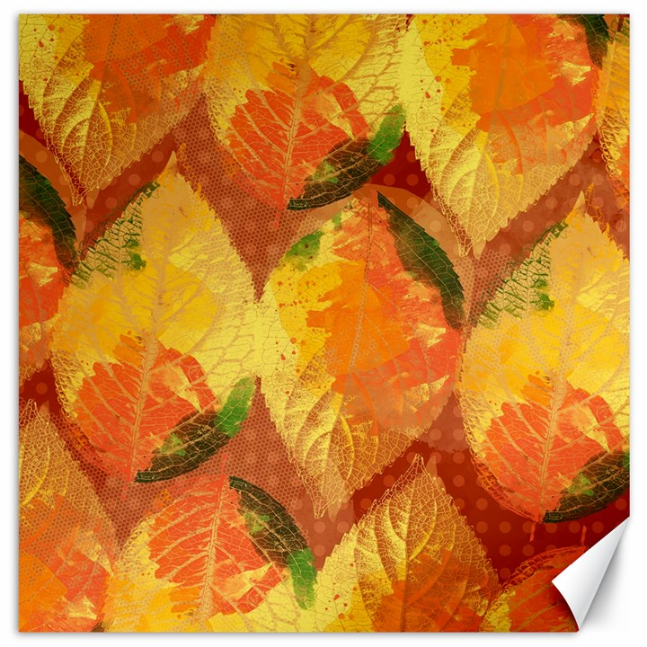 Fall Colors Leaves Pattern Canvas 12  x 12