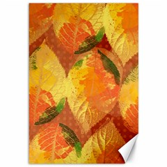 Fall Colors Leaves Pattern Canvas 12  X 18