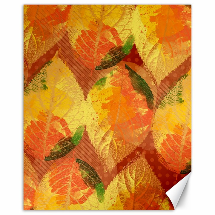 Fall Colors Leaves Pattern Canvas 16  x 20