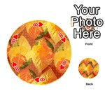 Fall Colors Leaves Pattern Playing Cards 54 (Round)  Front - Heart8
