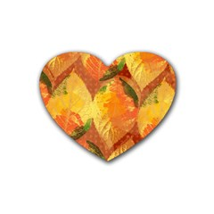 Fall Colors Leaves Pattern Rubber Coaster (Heart)