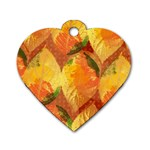 Fall Colors Leaves Pattern Dog Tag Heart (Two Sides) Back