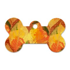 Fall Colors Leaves Pattern Dog Tag Bone (two Sides) by DanaeStudio
