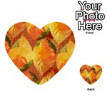 Fall Colors Leaves Pattern Multi-purpose Cards (Heart)  Front 30