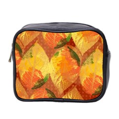 Fall Colors Leaves Pattern Mini Toiletries Bag 2 Side