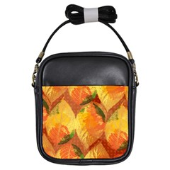 Fall Colors Leaves Pattern Girls Sling Bags by DanaeStudio