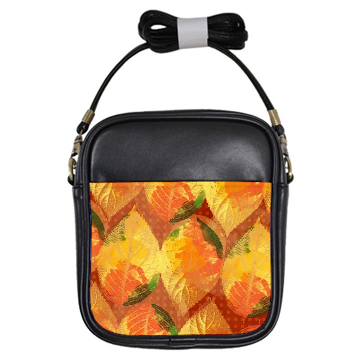 Fall Colors Leaves Pattern Girls Sling Bags