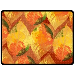 Fall Colors Leaves Pattern Fleece Blanket (large)  by DanaeStudio