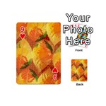 Fall Colors Leaves Pattern Playing Cards 54 (Mini)  Front - Heart9