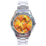 Fall Colors Leaves Pattern Stainless Steel Analogue Watch Front