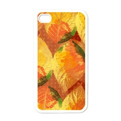 Fall Colors Leaves Pattern Apple Iphone 4 Case (white)