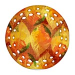 Fall Colors Leaves Pattern Round Filigree Ornament (2Side) Back