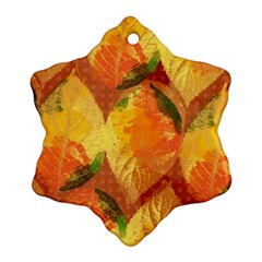 Fall Colors Leaves Pattern Snowflake Ornament (2 Side)