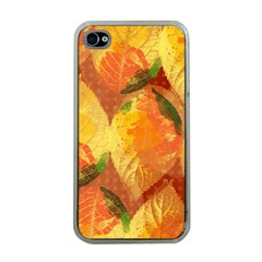 Fall Colors Leaves Pattern Apple Iphone 4 Case (clear) by DanaeStudio