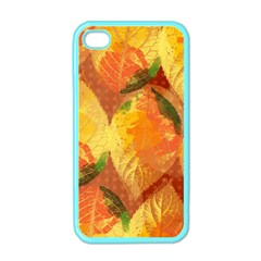 Fall Colors Leaves Pattern Apple Iphone 4 Case (color)