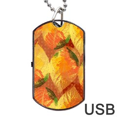 Fall Colors Leaves Pattern Dog Tag Usb Flash (one Side) by DanaeStudio