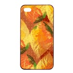 Fall Colors Leaves Pattern Apple iPhone 4/4s Seamless Case (Black) Front