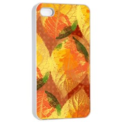 Fall Colors Leaves Pattern Apple Iphone 4/4s Seamless Case (white) by DanaeStudio