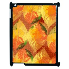 Fall Colors Leaves Pattern Apple Ipad 2 Case (black) by DanaeStudio