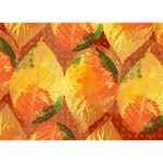 Fall Colors Leaves Pattern Circle Bottom 3D Greeting Card (7x5) Back