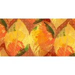 Fall Colors Leaves Pattern Happy New Year 3D Greeting Card (8x4) Front