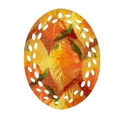 Fall Colors Leaves Pattern Ornament (oval Filigree)  by DanaeStudio