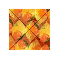 Fall Colors Leaves Pattern Acrylic Tangram Puzzle (4  x 4 )